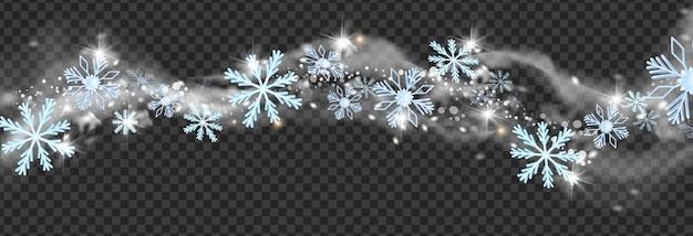 Vetor de vento de neve de inverno nevasca de natal, flocos de neve, geada branca, fumaça, cintilante, tempestade