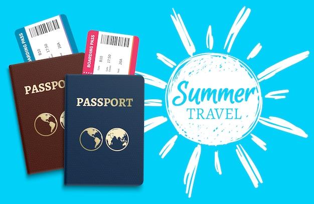 Vetor de viagens de verão com desenho sol e passaportes realistas