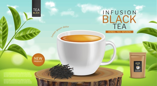 Vetor de xícara de chá preto realista. simulação da embalagem do produto em saquinho de chá. ilustrações detalhadas em 3d