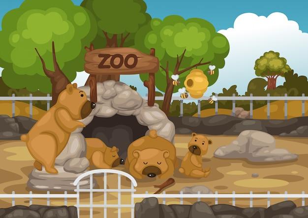Vetor de zoológico e urso