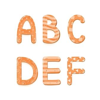Vetor definido alfabeto dos desenhos animados de biscoitos de gengibre de natal ou ano novo alfabeto conjunto com esmalte.