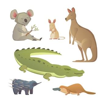 Vetor definido animais dos desenhos animados isolados. a fauna da ilustração da austrália.