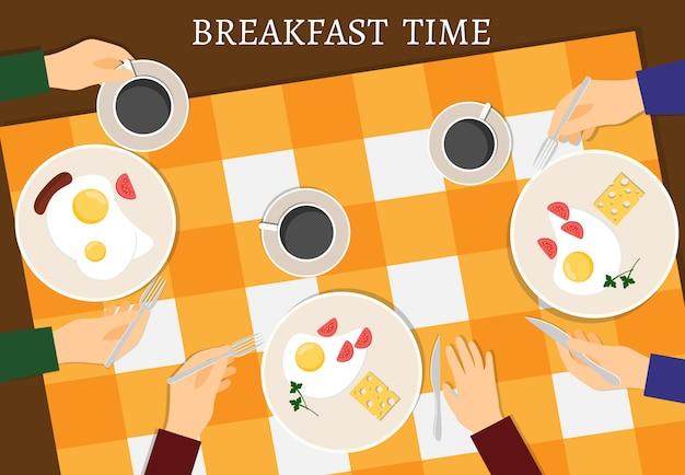 Vetor definido com alimentos frescos de pequeno-almoço e bebidas
