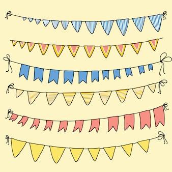 Vetor definido com bandeiras coloridas