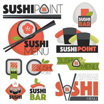 Vetor definido com banners de sushi, ícones