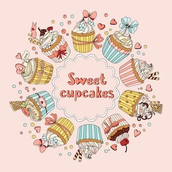 Vetor definido com cupcakes doces decorados