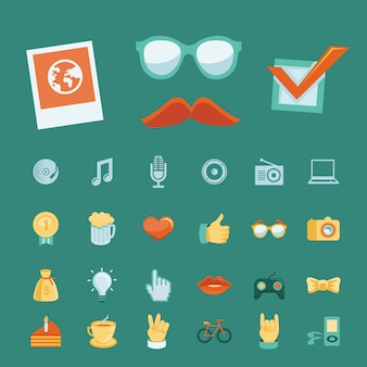 Vetor definido com ícones da moda hipster e sinais