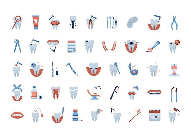Vetor definido com ícones de odontologia de cor lisa