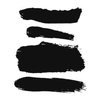 Vetor definido com mancha de tinta a óleo preta isolada em textura de fundo branco ilustração desenhada à mão