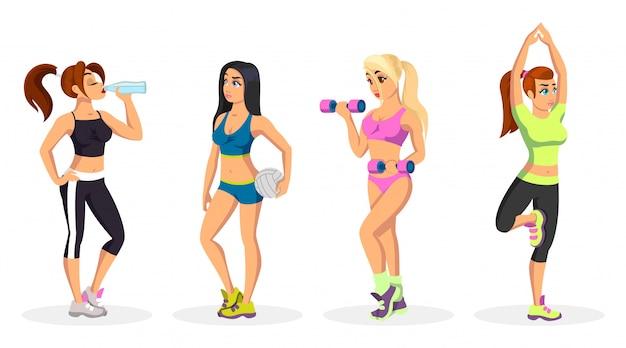 Vetor definido com meninas em uniforme esportivo fazendo exercícios