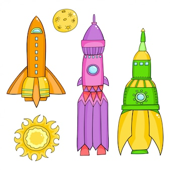 Vetor definido com objetos do espaço - foguetes, estrelas, cometa no estilo doodle