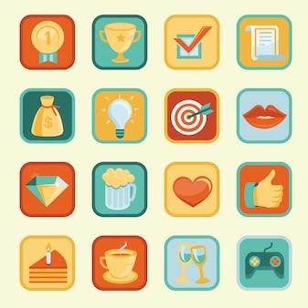 Vetor definido com realização e prêmios ícones