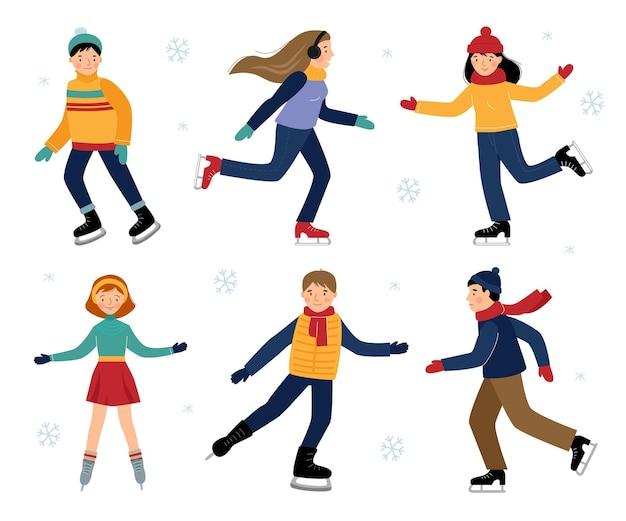 Vetor definido com seis crianças patinação no gelo, isolado em um fundo branco. diversão de inverno.
