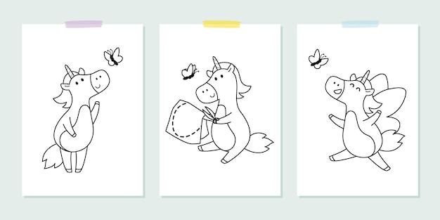 Vetor definido com unicórnios fofos com borboleta no estilo infantil.