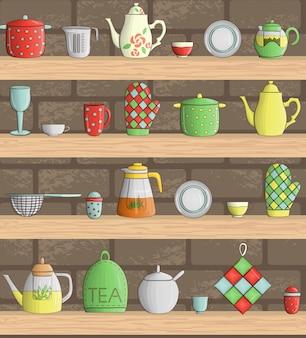 Vetor definido com utensílios de cozinha coloridos nas prateleiras