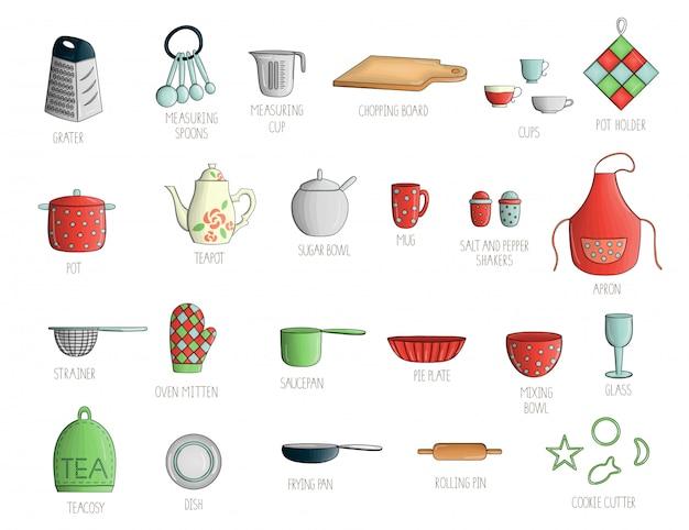 Vetor definido com utensílios de cozinha coloridos.