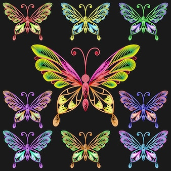 Vetor definido de borboletas coloridas