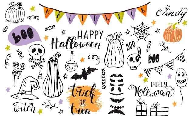 Vetor definido do halloween dos desenhos animados. conjunto de elementos de design de desenhos de halloween