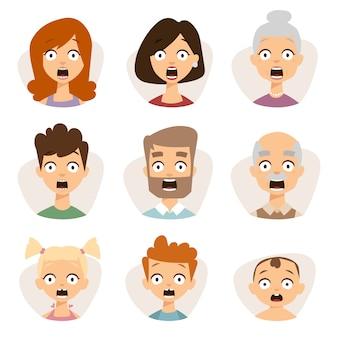 Vetor definido rosto de emoticons bonita de avatares de medo de caráter de pessoas.