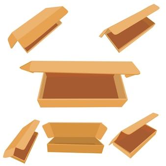 Vetor, definir vários modelos de perspectiva ou maquete, caixa de papelão para alimentos, sapatos, tecido ou outros bens, isolado no branco