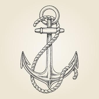 Vetor desenhado à mão âncora náutica. navio elementar, desenho vintage, marinha de corda