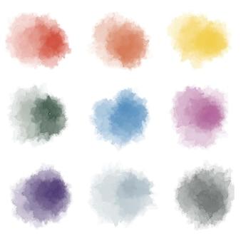 Vetor desenhado à mão com respingos de cor coleção colorida abstrata do respingo da aquarela