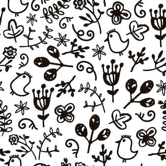 Vetor desenhado à mão doodle floral padrão sem emenda. fundo preto e branco com pássaros e flores