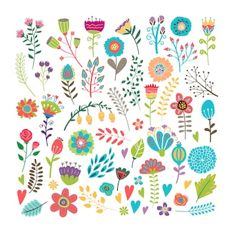 Vetor desenhado à mão elementos florais vintage