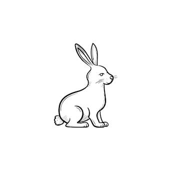 Vetor desenhado à mão ícone de doodle de contorno de coelho. ilustração de desenho de coelho para impressão, web, mobile e infográficos isolados no fundo branco.