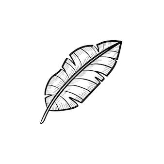 Vetor desenhado à mão ícone de doodle de contorno de folha de bananeira. ilustração do esboço da folha de bananeira para impressão, web, mobile e infográficos isolados no fundo branco.