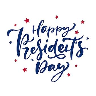 Vetor desenhado à mão letras de texto feliz dia dos presidentes para férias nos eua. Vetor Premium