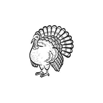 Vetor desenhado à mão turquia contorno doodle ícone. turquia esboçar ilustração para impressão, web, mobile e infográficos isolados no fundo branco.