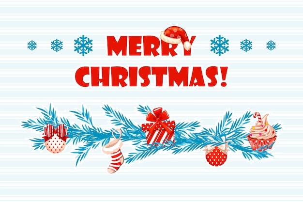 Vetor desenho animado cartão azul feliz natal