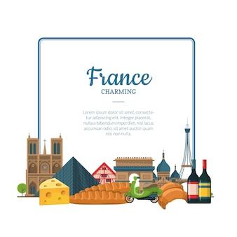 Vetor desenho animado frança pontos turísticos e objetos. quadro de texto de paris