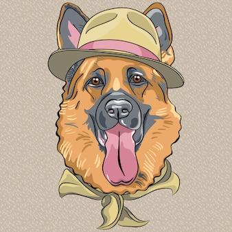 Vetor desenho animado hipster cão pastor alemão