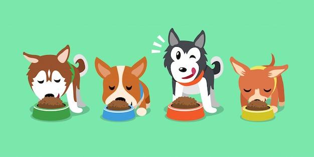 Vetor desenhos animados cachorros fofos com tigelas de comida