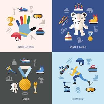 Vetor digital, inverno, jogos, esporte, objetos, ícone, conjunto, coleção