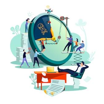 Vetor do conceito do negócio da gestão de tempo do fim do prazo.
