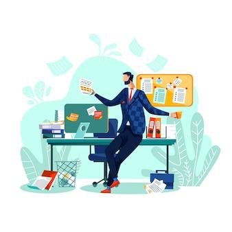 Vetor do conceito do negócio da gestão do prazo e do tempo. trabalhador feliz se senta na mesa,
