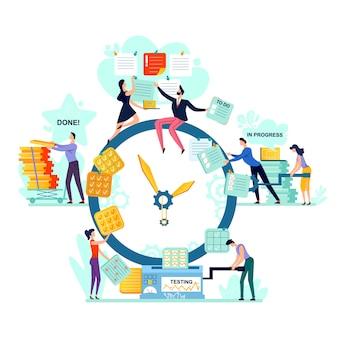Vetor do conceito do negócio da gestão do prazo e do tempo.