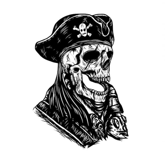 Vetor do crânio do pirata desenho à mão.