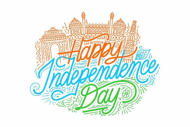Vetor do dia da independência com ilustração de monumento