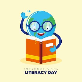 Vetor do dia internacional da alfabetização com um personagem globo e um livro que convida o mundo inteiro a escrever e ler