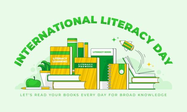 Vetor do dia internacional da alfabetização para cartaz, banner, cartão postal ou mídia social