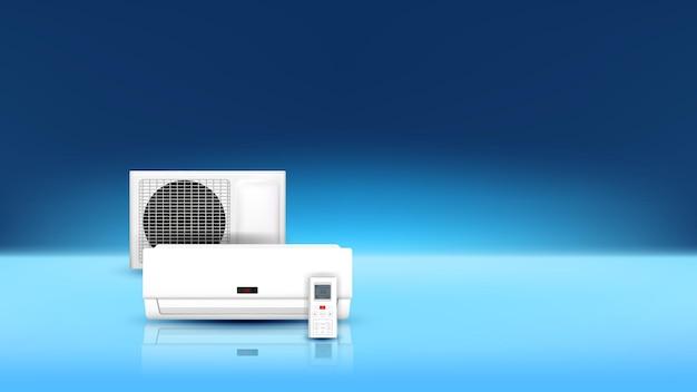 Vetor do espaço da cópia do sistema elétrico do ar condicionado. bloco de sistema de condição e controle remoto para controle de temperatura interna. modelo de condicionador de tecnologia climática ilustração 3d realista