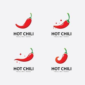 Vetor do ícone do logotipo spicy chili modelo de logotipo red pepper