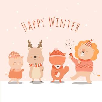 Vetor do inverno final com leão, raposa, gato e leão