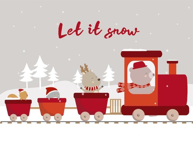 Vetor do inverno final com pinguim cervo e esquilo andando de trem