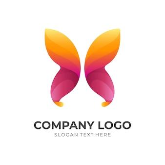 Vetor do logotipo da borboleta com estilo 3d de cor laranja e vermelho