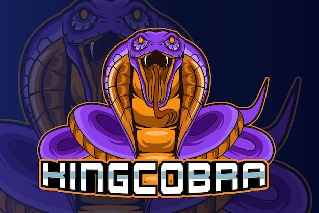 Vetor do logotipo da cobra rei e esporte